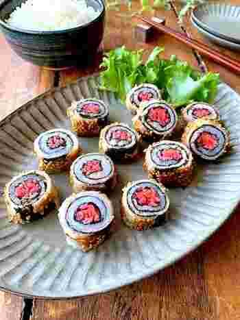 輪切りにすると・・・巻き寿司のよう*紅生姜のピンクの彩りが良いので、お弁当やおつまみにもオススメです。