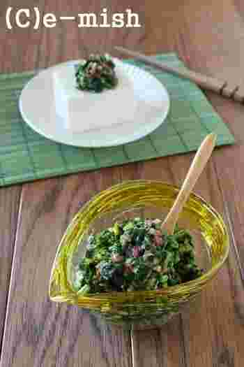 夏バテ予防にぴったりのモロヘイヤに、梅ときゅうりを合わせた「だし」風のレシピ。酸味のある梅で、すっきりさっぱりの味付けに。