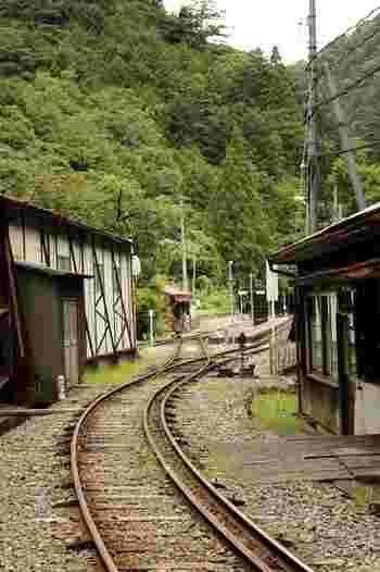 大井川鐵道の駅の一つ、接岨峡温泉駅は、川根本町を代表する観光名所、接岨峡温泉への入り口です。枕木が敷かれた線路とほとんど高さの変わらない小さなホームと山間部の風情が調和し、どこか懐かしい佇まいをしています。