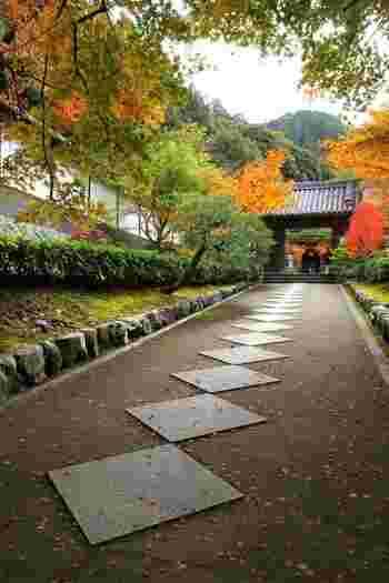 """先に紹介した「南禅院」の東側に位置する「最勝院高徳庵」も、塔頭寺院の一つ。  東山の山峡と接する、南禅寺境内の最奥は、鎌倉期から""""神仙佳境""""と呼ばれ、霊地として知られた地。「最勝院」は、そうした神秘と静寂の中に佇む古刹で、古くから""""勝運の神""""として知られています。【11月下旬の「最勝院」参道。】"""