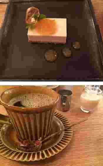 『豆腐のレモンケーキ』と『穀物コーヒー』。『豆腐の…』は通年のメニューです。