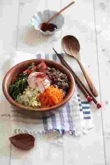 数ある韓国料理の中でも人気の高いビビンバ。ジャポニカ米は冷めても味が落ちないので、ビビンバのような料理にはもってこいですね。