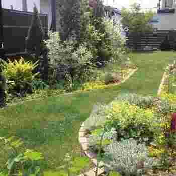 広い庭があるおうちなら、青々とした芝生に憧れますよね。芝生の道の脇に花壇を作ると、雰囲気もいっそう素敵に。
