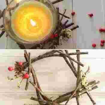 おうちにお気に入りのキャンドルがある場合は、それに合わせたキャンドルホルダーを作ってみましょう。枝をキャンドルの大きさに合わせてカットし、組み合わせてグル―ガンで接着していきます。最後に赤い実などを飾ればクリスマス感がアップ!