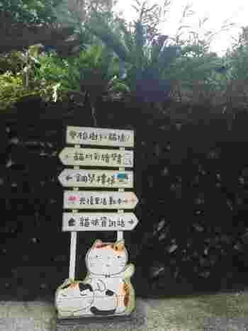 猫村に入ると、掲示板やマップ、標識などがほぼ全て猫なことにきっと驚くはず。  猫カフェなどもあり、猫好きの方にはたまらないスポットですよ♪