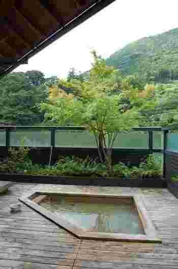 土佐山温泉の天然の出で湯を使った露天風呂からは、美しい渓谷を一望できます。さわやかな空気と心地良い風の中、肌触りやわらかなお湯につかるといっぺんに癒やされそうですね。
