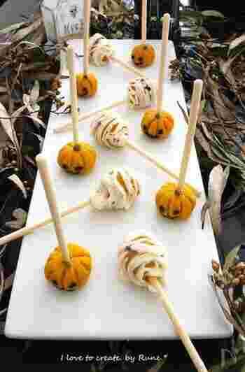 アメリカで人気の一口サイズのお菓子のロリポップを、和風にアレンジしたキュートなハロウィンスイーツ。棒つきなのでとても食べやすく、手を伸ばしやすいので、ハロウィンパーティーのお菓子に喜ばれます。