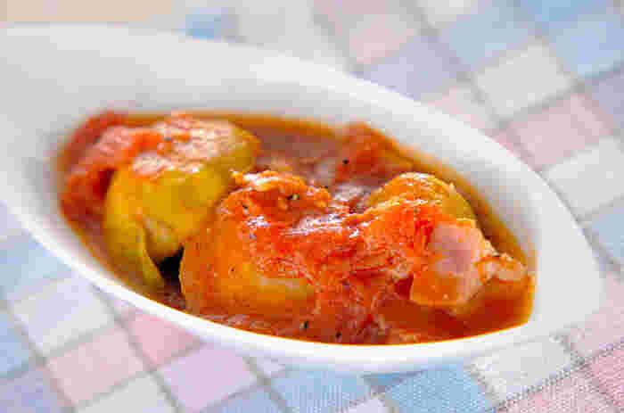 ■芽キャベツのトマト煮 ホクホクの芽キャベツは少し酸味のあるトマトとも仲良しなんですよ♪
