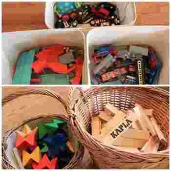 布製ボックスやナチュラル素材のバスケットに、細々したおもちゃを種類ごとに収納。