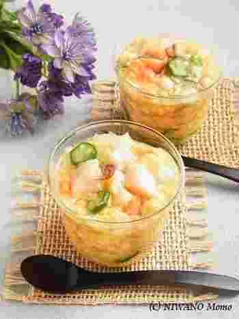白だしで作る「寒天寄せ」。 魚介の旨味とお野菜の美味しさもすべて包み込んでくれます。