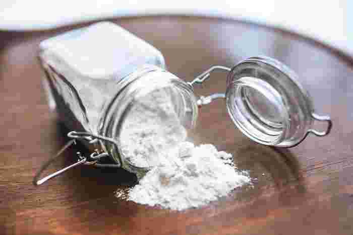 """簡単にとろとろのお豆腐が作れる魔法の粉""""重曹""""  使う時は「食用」のものを使いましょう。"""