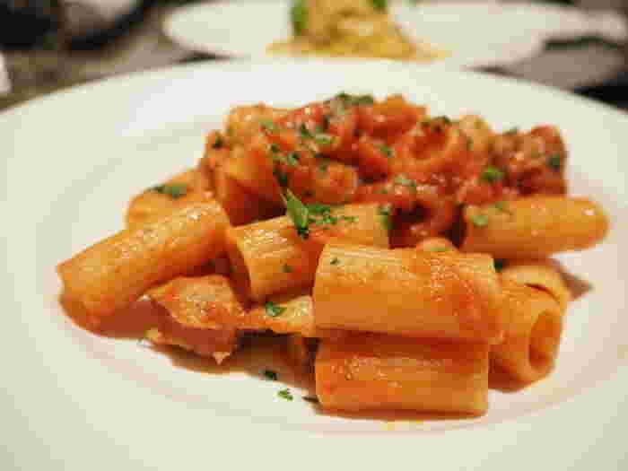 パスタセットなどオーソドックスなランチメニューも。イタリアブランドなだけあって、トマトソースのパスタが好評です。