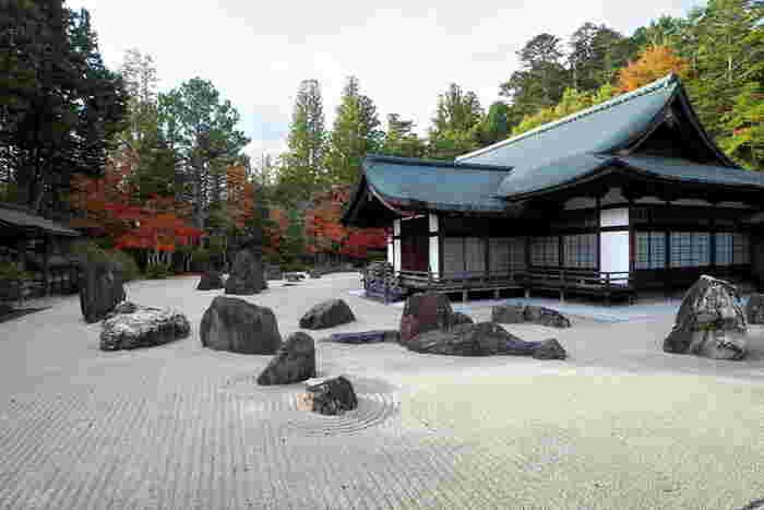 2340平方メートルの広さを持つ総本山金剛峯寺の石庭、蟠龍庭(ばんりゅうてい)は、日本最大級の石庭です。水の流れを現す白砂、大小の石、樹々、歴史ある建築物が織りなす景色は、まるで水墨画のようです。