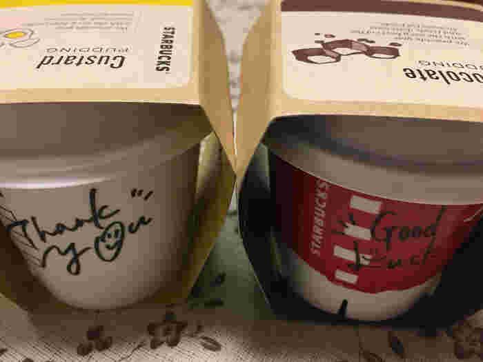 チョコレートとカスタード、どちらにするか迷ったら、両方買ってみるのも◎1個1個、店員さんから可愛い手書きメッセージも貰えます。もちろん抹茶プリンもオススメです!日本でしか食べられない抹茶味も是非お試しを。