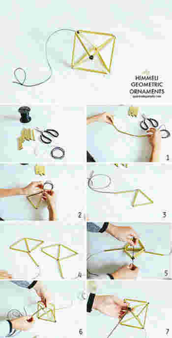 ①直パイプ3本を通して三角形をつくって結びます。 (以下、タコ糸を結ぶときは固結びとします) 初めの部分を30~40cm残しておいて! ②直パイプを2本通しては、三角形のできる頂点でタコ糸を結ぶ、を4回繰り返します。 ③最後に残っている1本をタコ糸に通す。 ④初めに、残しておいたタコ糸と、残りのタコ糸を結びます。 ⑤口の空いているところを、別に用意した短いタコ糸で結びます。完成です!