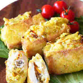 タフイシゴレンは、厚揚げの切り込みの間に具材を挟み、油で揚げた一品。インドネシアでは屋台料理や家庭料理として親しまれています。衣にターメリックを使用し、黄色く色付けしているので、更にインドネシア感が増しますね。