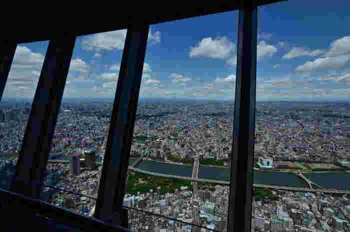 ■ 天望デッキ  4階から専用エレベーターで、地上350mにある「天望デッキ」に向かいます。 360度に5mを超える大型のガラスを配置して、東京全体を見渡せる大パノラマが広がります。一部ガラス張りになった床があり、真下を見ることができて、かなり怖いです。