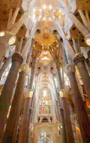 未完の傑作、サグラダ・ファミリア。バルセロナに詳しくなくても、この名は知っている人が多いことでしょう。 数あるガウディ作品の代表であるこの教会は、1882年に着工され、現在も建築中。バルセロナ近郊にある聖なる山モンセラートにインスピレーションを受けたという山の形をした外観が印象的ですが、美しい内部もまた言葉を失うほどの感動を誘います。