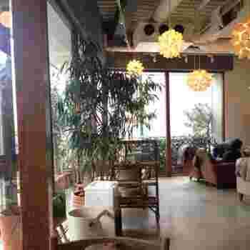 大きな窓から自然光が入るナチュラルな雰囲気の店内。ゆったりとした時間を過ごしながら、ヘルシーで美味しい食事を楽しむ事ができます。