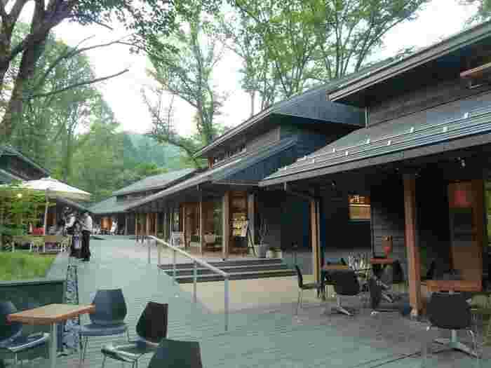 中軽井沢駅からバスで10分ほどの星野エリアにある「ハルニレテラス」は、レストランやカフェ、インテリアや雑貨屋さん、ヒーリングマッサージ店などが揃う人気の施設です。