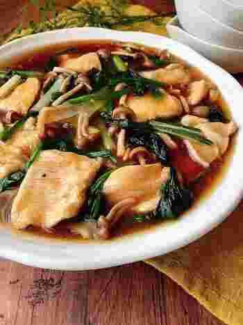 鶏むね肉としめじ、ほうれん草で作るうま煮。仕上がりの直前に、生姜のすりおろしを入れれば、あたたかく風味豊かに仕上がり、身も心も癒されます。
