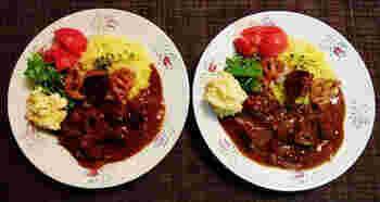とろりと濃厚な牛筋カレーにはイエローバターライスを合わせて本格的な洋食屋さんのお味に。スパイスをたっぷり加えて、奥行きのある味わいに仕上げています。