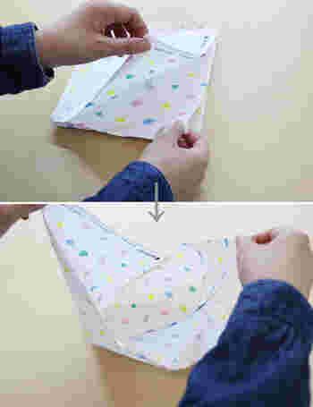 実はこれでもう完成!裏布を付けたい場合には、同じものを2つ作って重ね合わせ、上のV字部分を縫い合わせればOKです。