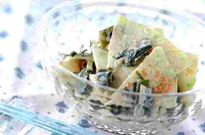 シャキシャキ食感が楽しく爽快感を味わえる「冬瓜とおかかのマヨサラダ」。あと一品欲しい時にオススメのレシピです。