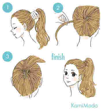 自分の髪でゴムを隠すやり方は、ポニーテールにしたら、毛束を少しとって結び目にくるり巻いてピンで留めるだけ!とっても簡単ですよ。