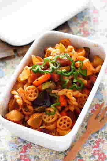 ラタトゥイユの具にコンキッリェを加えてボリュームアップ。冷めても美味しいので、お弁当や常備菜にも。コンキッリェの他にも、色々な形のショートパスタを入れても楽しいですよ。