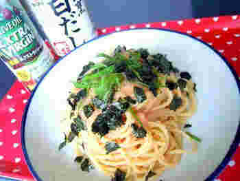 番外編として、オイルパスタ用ですが、白だし×オリーブオイルの味付けをご紹介。  こちらのように、タラコをあわせたり、また、あさりや牡蠣で応用もできます。だしが合う和風パスタに、オリーブオイルをちょい足ししてみてくださいね。