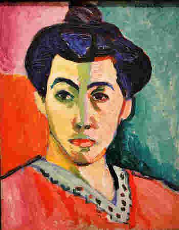 こちらは初期の代表作「緑のすじのあるマティス夫人」。顔の真ん中に太い緑色の線を中心に左右それぞれ異なる色彩と筆使いで描かれており、マティス自身の内面を表現していると言われています。