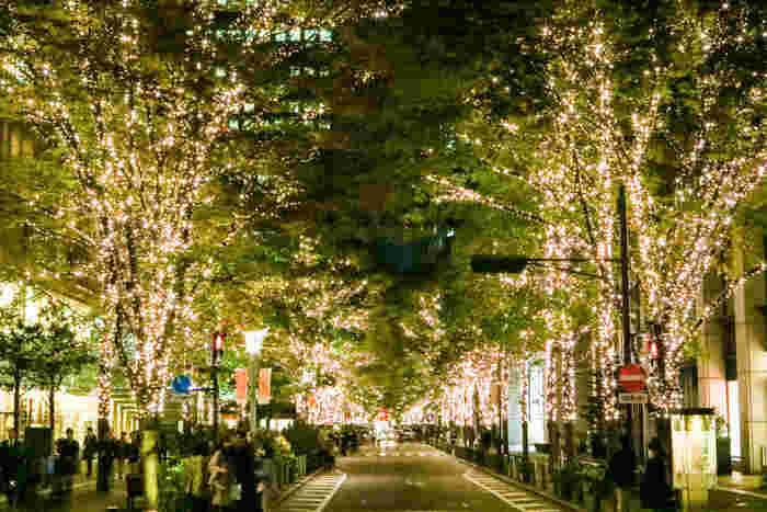 """丸の内エリアの冬の風物詩として街を彩る「丸の内イルミネーション」が今年も開催されます。来年2月18日(日)までの17:30~23:00までライトアップされるので、ディナーのあとにも楽しめるのが良いですね。  丸の内仲通りの約1.2kmを200本を越える街路樹が上品に輝く丸の内オリジナルカラー""""シャンパンゴールド""""のLED約93万球で彩られ、その華やかさにはうっとりしてしまいます。"""