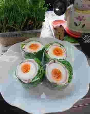 やわらかい春キャベツをロールキャベツのように巻きつけて鮮やかな巻サラダに。お弁当にもぴったり♪