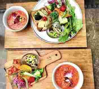 クロックムッシュ、キッシュのプレートも朝採れ野菜がたっぷり!自然を感じながら自然をいただける。軽井沢らしい緑に溢れた隠れ家的レストランです。