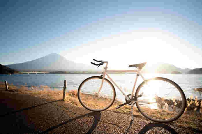 ロードバイクとは、長距離を快適に速く走れる自転車です。 ただし段差などに弱いため、舗装された道路でないと走りにくく、山には向いていません。 細いタイヤとドロップハンドルが特徴で、初めて乗るには少々怖いかもしれません。  少しの遠出なら快適に行けそうです。 秋には紅葉を見ながらのサイクリングにもバッチリ。