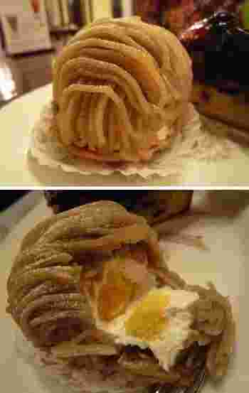 画像上は一番人気の『モンブラン』。生クリームの中心には和栗のぺーストが。
