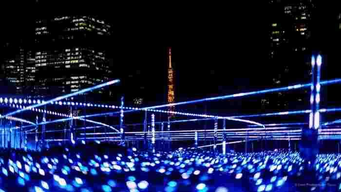 六本木駅、乃木坂駅から程近く、東京タワーをバックに美しいイルミネーションが見られる「東京ミッドタウン」の芝生広場です。2018年もクリスマスまでイルミネーションで彩られます。ミッドタウンでのお買いものの際に立ち寄りたいスポットです。