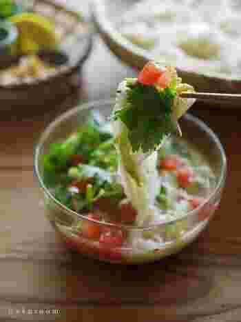 サバの水煮缶を使う栄養満点のレシピ。野菜もしっかりとれるタイ風のつけダレ。よく冷やして、冷たい素麺とご一緒にどうぞ。パクチーが好きな人はたっぷり入れてみてください。