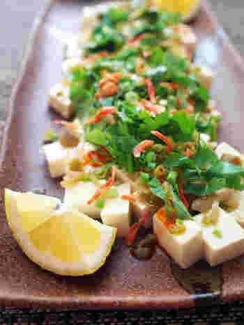 しょうゆやかつおぶしと一緒に食べる印象が強い冷奴ですが、レモンとパクチーをのせてみるのはいかがでしょうか?  彩りがプラスできるのはもちろん、野菜をプラスすることで栄養価もより高い冷奴になりますよ。