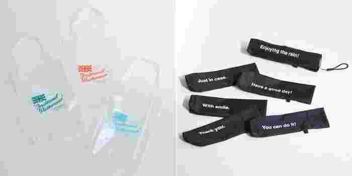 トラディショナル ウェザーウエアでは嬉しい【レインフェア】を開催! フェア期間中に、11,000円(税抜)以上お買い物をされた方に先着でオリジナルクリアトートバッグ(写真左)をプレゼント。(※) また、新作の『ライトウエイトアンブレラ』をお買い物をされた方には、この折りたたみ傘が入るオリジナルメッセージの入ったカバー(写真右)を先着でプレゼントします。大切な人へのギフトにもおすすめです。  この機会に、是非ショップに足を運んでみてはいかがでしょうか。