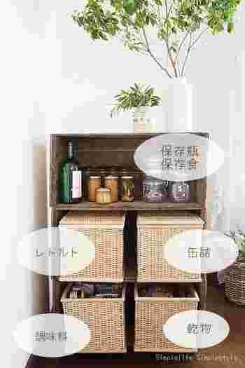 ブリ材長方形バスケットに保存食品を収納している実例です。見た目がおしゃれになるので、目に付く場所に収納しなければならない場合にもおすすめ。