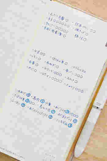 右のメモページには、冷蔵庫の中身の食材を書き出しています。使ったものにはチェックを入れることで、在庫がきちんと把握できます。