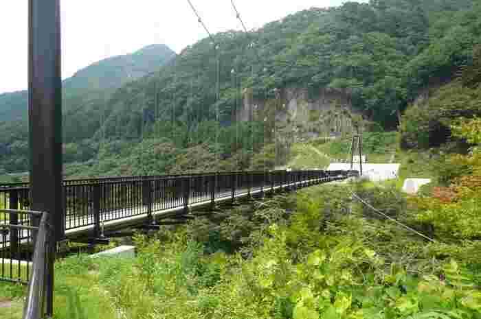 """鬼怒川の温泉街と「楯岩」を結ぶ「鬼怒楯岩大吊橋」からは、スリルと絶景が楽しめます。吊り橋は歩道専用で、全長140m。吊り橋の下を流れる鬼怒川は女性、楯岩は男性を表すとされていることから、""""縁結びの橋""""とも呼ばれデートスポットとしても人気です。こちらは温泉街側からの様子で、向こうに見えるのが「楯岩」です。戦いのときに使う楯に似ていることから名づけられ、その高さは70m以上もあるんですよ。"""