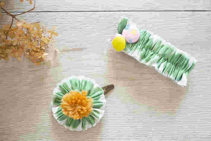 このサイトでは、バレッタを大人用、クリップを子供用として紹介していますが、選ぶハギレの柄と飾りのチョイスで、どちらも素敵な大人用として使えます。ほんの少しのハギレも、とっておくと役立ちそう。
