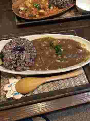 黒米入りのライスでいただくカレーにも、ショウガやゴボウなど体を温めてくれる根菜がたくさん入っています。