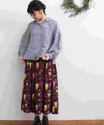 ギンガムチェックのシャツに、印象的なプリントのスカートを合わせて。ガーリーなシルエットのアイテムを組み合わせた、遊び心あふれるフェミニンスタイルです。