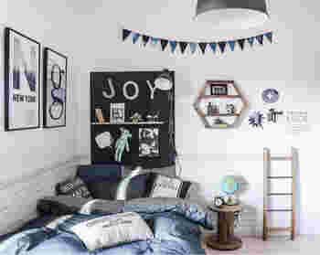 男の子や、カッコイイもの好きの女の子にはニューヨークテイストなオシャレな雰囲気のお部屋がおすすめ。