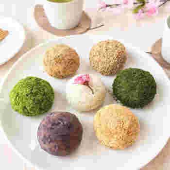 シンプルなおはぎだけでなく、きな粉や抹茶きな粉をまぶしたおはぎ(ぼたもち)は、彩りも鮮やか。ホームパーティにもおすすめです。