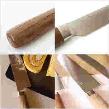 こちらの三徳は刃の長さが170mmで幅広い用途に使える万能なサイズ。基本の包丁としてまずは揃えておきたい包丁です。ハンドル部分には特許技術から生まれた抗菌炭化木を使用。刃は錆びにくく切れ味のよいSLD鋼・ステンレスの3層構造になっています。